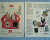 Two Zippo Lighter Ads, Saturday Evening Post Pages, Santa, Flapper, 1954-55