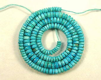 "Sleeping beauty turquoise smooth tyre beads AAA 4-7mm 19.5"" strand"