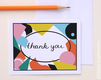 Thank You Cards A2 Set of 8, Modern Thank You Cards