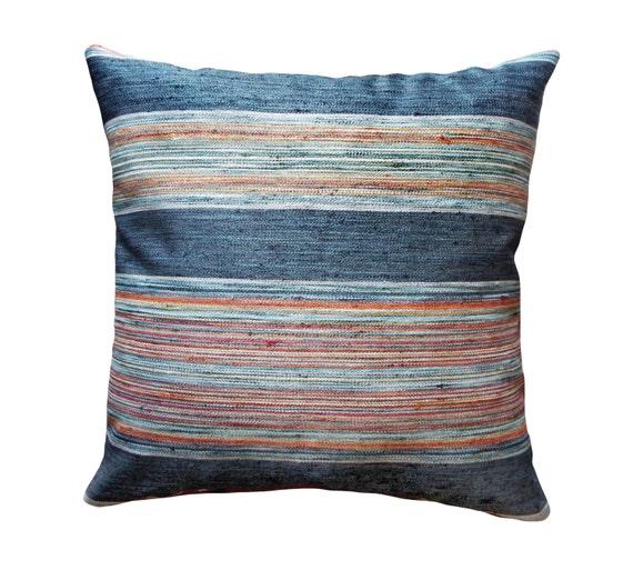 Boho Stripe Throw Pillow Indigo Light Blue Turquoise Orange