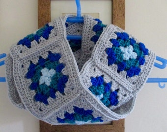 Blue & grey crochet granny square infinity scarf
