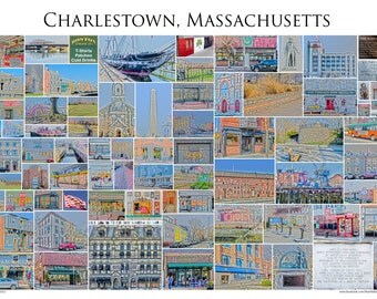 "Charlestown, Massachusetts - A 13x19"" Framed Photographic Collage of Charlestown Sstore Fronts and Landmarks"