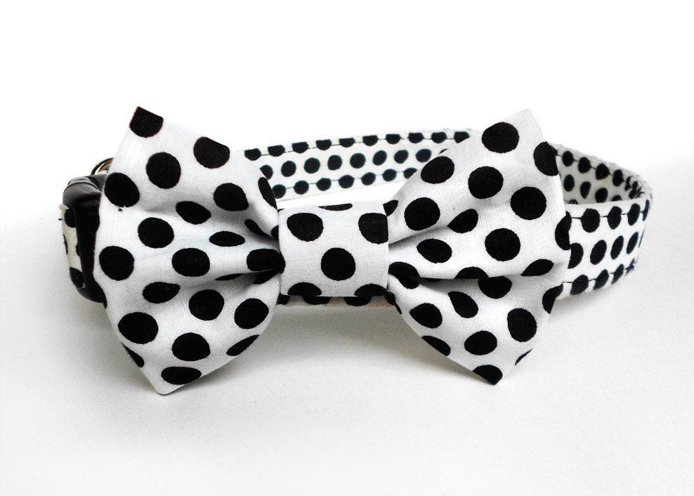 black and white polka dot cat bow tie retro cat bow