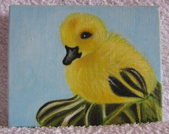 Original oil painting of a little duck sitting on some tree roots.