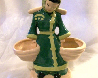 Kaye of Hollywood Water Carrier Figurine Vase 1940s California Pottery Figure Collectible Planter