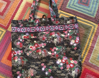 Boho Chinese Flower Tote Bag