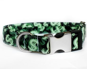 Money Money Money Collar | Pet Collar | Male Dog Collar | Large Dog Collar | Small Dog Collar | Gift for Pet Lovers | Gift for Dog Lovers
