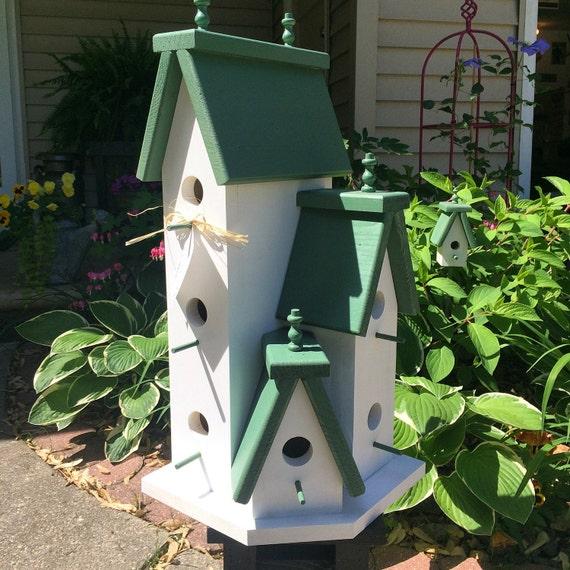 Large Handcrafted Wooden Birdhouse Condo Outdoor Bird House