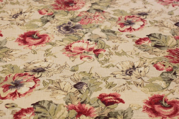 Drapery Upholstery Fabric Poppies 137 Antique Red By Covington Shabby Chic Vitage Look Rustic Linen Blend From Fabricbuzz On Etsy Studio