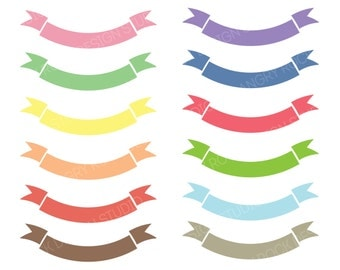 Clip Art Banners in Pastel Colors