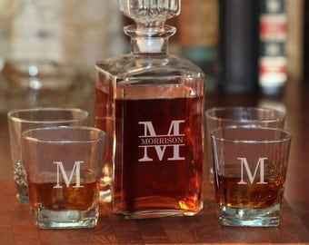Last Name with Single Initial Glass Whiskey Decanter and 4 Rock Glasses Set - (g101-1210-2) - Free Personalization