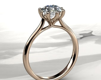 6.5mm Round Forever Brilliant Moissanite Solitaire Engagement Ring (available in white gold, rose gold, yellow gold and platinum)