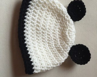 Baby Hat with ears, Black and white baby hat, Baby hat