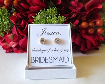 Personalized DIY Bridal Party Thank You Gift (BOX ONLY) for Earrings Bridesmaid Maid or Matron of Honor Flower Girl Earring Wedding Jewelry
