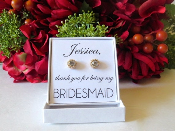 Thank You Gifts Wedding Party : Bridesmaid Earrings Bridal Party Thank You Gift Gold Silver ...