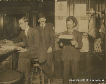 Vintage Silver Print Photograph of International (Paper?) Time Keepers Office 1906 3 Men ID'd on Back