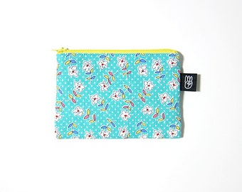 Emerald Blue Floral Print Coin Purse, Credit Card Purse, Small Zip Pouch, Card Pouch