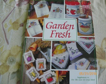 "Cross Stitch Pattern Leaflet - Garden Fresh - Supplement to ""For the Love of Cross Stitch"" - Vegetables, Berries, Bread, Apple"