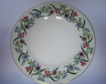 "Royal Worchester Dinner Plate, Made In England, Fleurette, 10.5"" Dinner Plate, Used Condition, Use Marks In Center,  Floral With Gold Rim"
