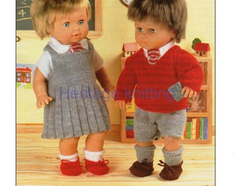 doll clothes school uniforms dk knitting pattern 99p pdf