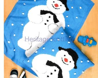 Snowman Cushion Knitting Pattern : Vintage Knitting Pattern PDF The Snowman Pram Blanket Afghan Throw and Cushio...