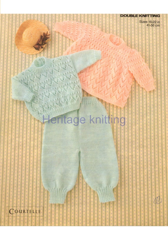 Knitting Pattern Angel Top : baby angel top sweater and trousers dk knitting pattern 99p
