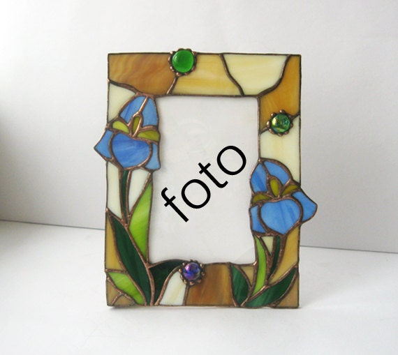 stained glass photo frame desk and wall decor flower blue