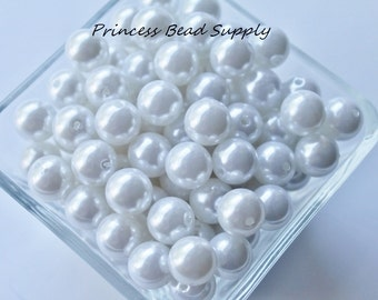 12mm White Pearl Beads Set of 20 or 50,  Chunky Bubble Gum Beads, Gumball Beads, Acrylic Beads