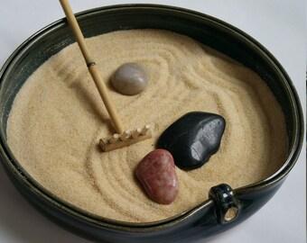Zen Sand Garden, Tabletop Meditation Garden, Relaxation Sand Garden, Sand Pattern Garden, Contemplation Garden, Peace Sign, Desktop Garden