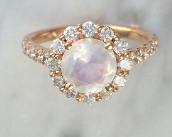Blue Rainbow Faceted Moonstone w/ Round Diamond Halo Setting in 14K Rose Gold - Alternative Engagement Ring - Affordable Engagement Ring