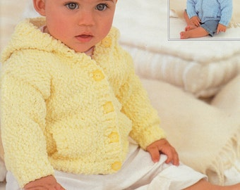 Baby Sweater Knitting Pattern - Sirdar Snuggly Bubbly #1614 Baby Sweater Knitting Pattern - Knit Sweater Pattern - Knit Baby Jacket Pattern