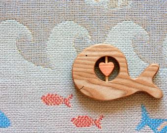 Baby Rattle Whale/ Organic Baby Rattle/ Teether/ Teething/ Baby shower Gift