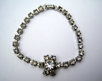 Vintage Silver Tone and Clear Rhinestone Flower Bracelet from the 1950's