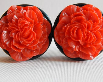 1 3/8 inch Plugs, Red Roses, Gauges, Acrylic, Resin