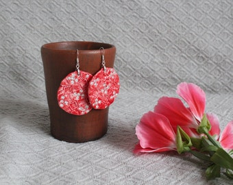 Ceramic earrings made of clay and cubic zirconia