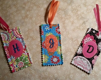 Custom Monogrammed Quilted Bookmark -- all proceeds to animal charities!