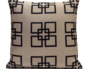 Navy Blue and Khaki Beige Pillow, Throw Pillow Cover, Decorative Pillow Cover, Cushion Cover, Pillowcase, Pattern, Toss Pillow, Cotton Blend