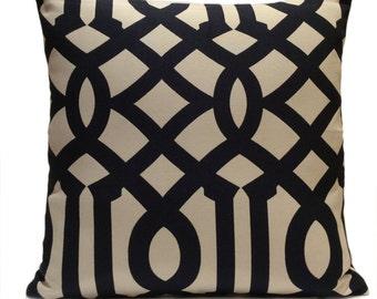 Black and Khaki Beige Pillow, Throw Pillow Cover, Decorative Pillow Cover, Cushion Cover, Pillowcase, Accent Pillow, Cotton Blend Pillow