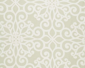 SCHUMACHER French Quarters Style ORNAMENTAL SCROLLWORKS Hand Printed Cotton Toile Fabric 10 yards Flax
