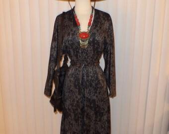 Vtg Boho Black Speckle Gypsy Witch Dress Sz S - M
