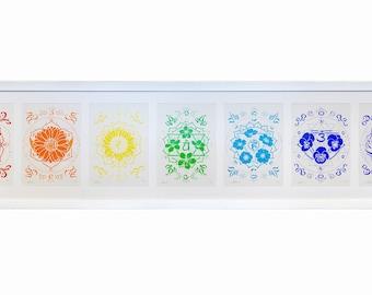 Perennial Harmony Collection - Flower Chakra Mandala Prints with Matching Chakra Crystals