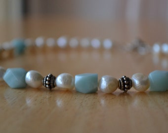 Sterling Silver Amazonite Freshwater Pearl and Bali Bead Necklace