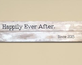 Rustic Large Happily Ever After Wood Distressed Sign, Rustic Wooden Sign, Rustic Decor, Rustic Wedding Decor, Rustic Home Decor, Farmhouse