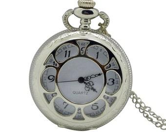 1pcs/ 45mm Retro Sliver White Six Hollow pocket watch Necklace Chain,Necklace Pendant,craft supply BM-39