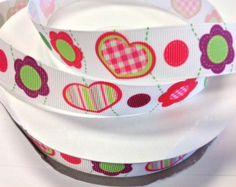 7/8 inch Flower and plaid Hearts On white   - Printed Grosgrain Ribbon for Hair Bow
