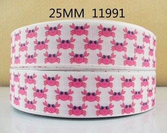 1 inch Cute Pink Crabs on White - CRABBY - STYLE 11991 - Printed Grosgrain Ribbon for Hair Bow