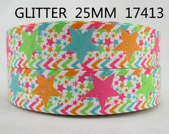 1 inch Glitter Colorful Stars on White 17413 Printed Grosgrain Ribbon for Hair Bow