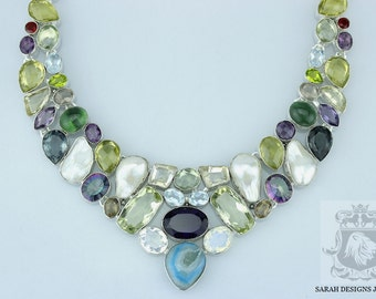 Mystic Topaz Citrine Pearl AGATE GREEN Onyx PERIDOT 925 Solid Sterling Silver Necklace n378