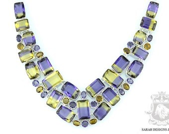 343 Carats SIMULATED CREATED AMETRINE 925 Solid Sterling Silver Necklace n380