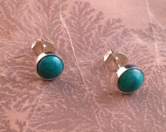 6mm Sterling Silver Turquoise Earrings